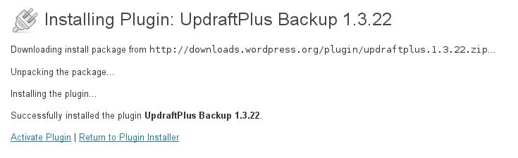 Activate UpdraftPlus