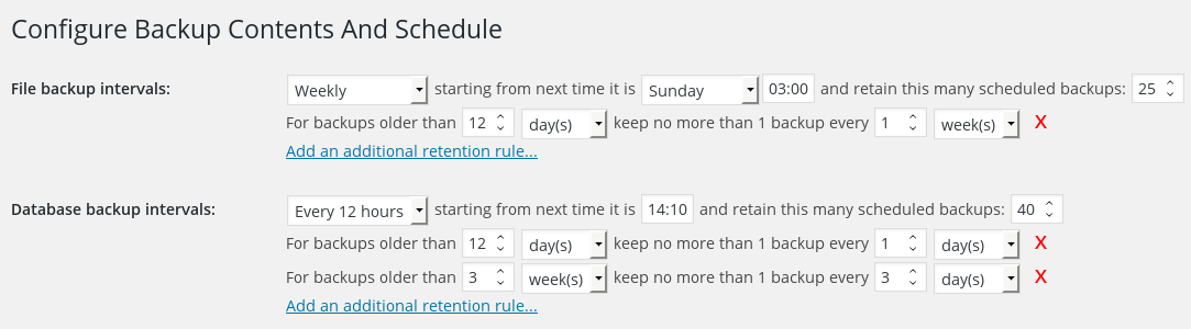 Setting the backup time and retention options