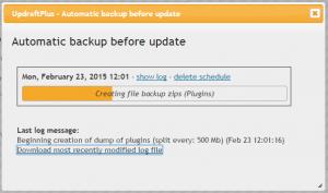 Automatic backup running