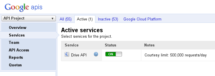 gdrive-activateapi