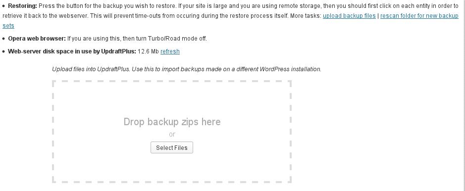 Uploading backups