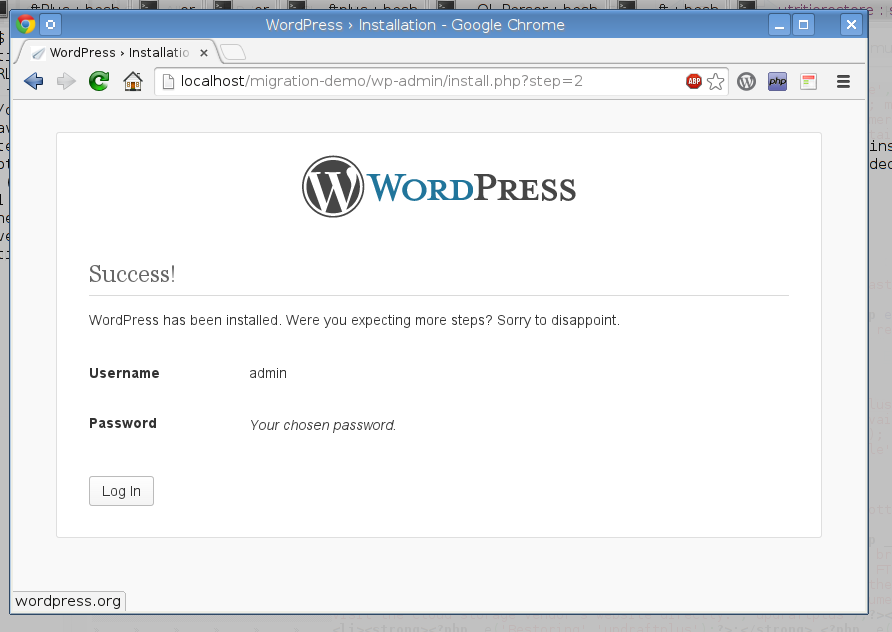 Starting with an empty WordPress install