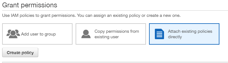 AWS create user policy
