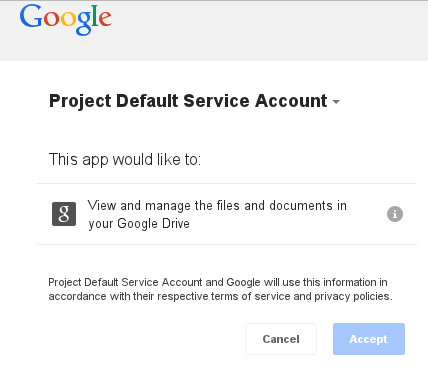 Granting permission to UpdraftPlus to use Google Drive