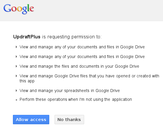 Granting Permissions to UpdraftPlus to use Google Drive