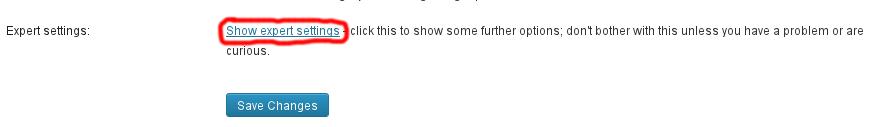 Show expert settings