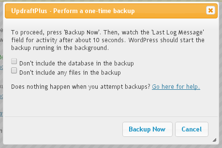 Backup Now - options