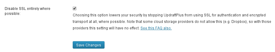Disable SSL
