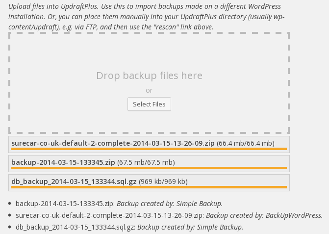 Importing backup sets from other backup plugins