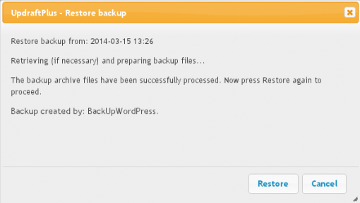 Restoring a backup made by BackupWordPress