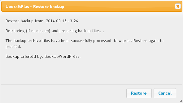 Restoring a backup made by BackupWordPress