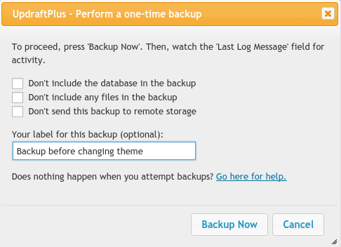 Setting a label for your backup