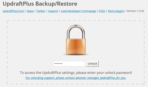 Locking the UpdraftPlus settings page