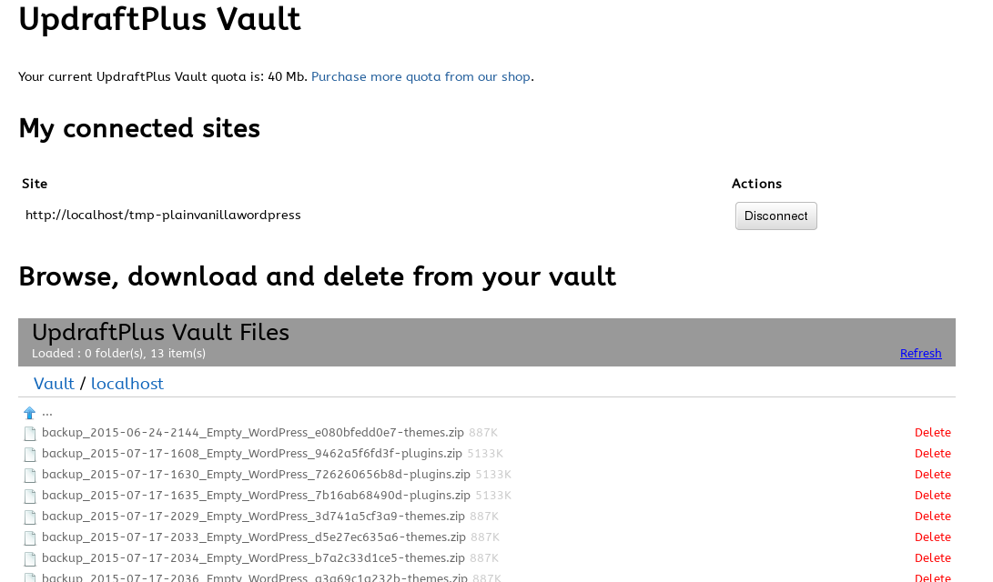 UpdraftPlus Vault dashboard