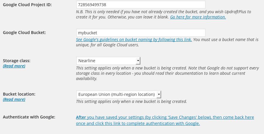 Google Cloud Storage Settings