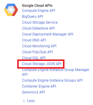 Google Cloud JSON API