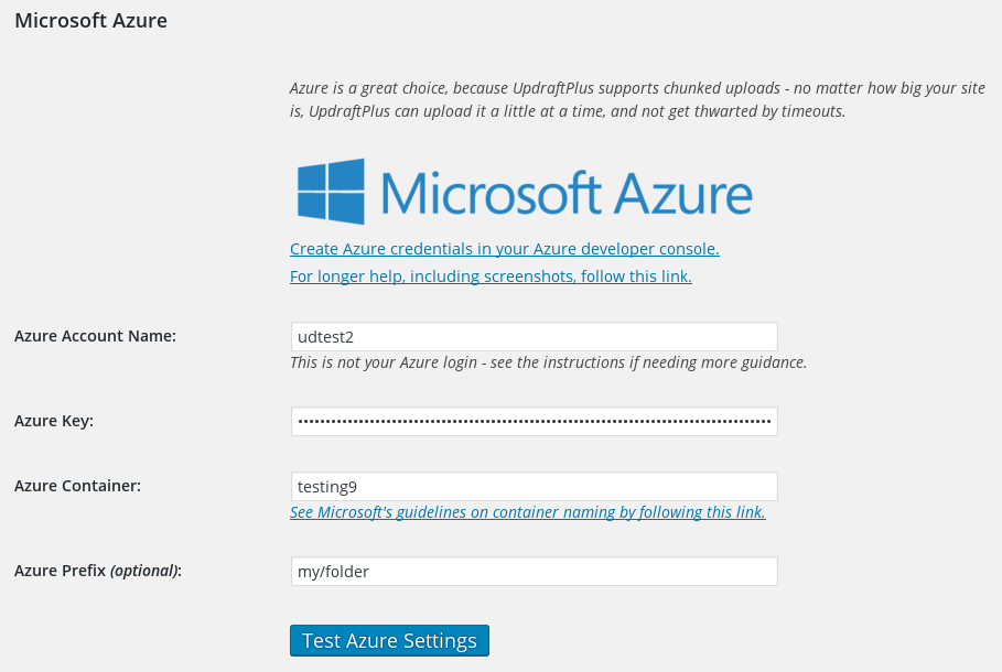 Setting up Microsoft Azure storage