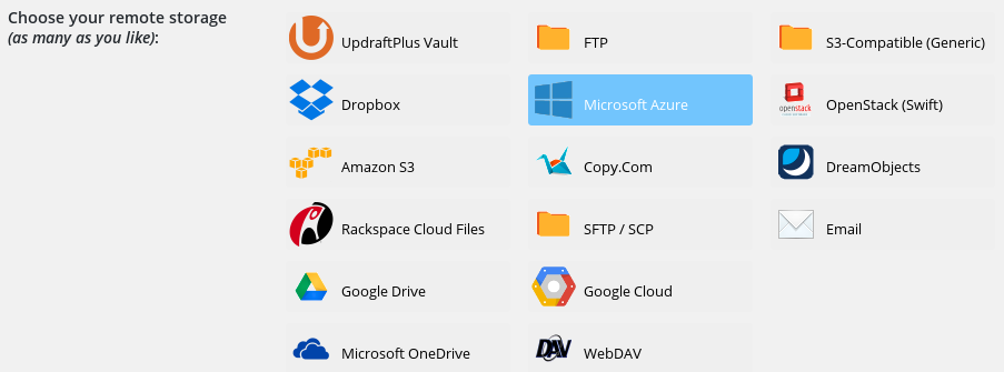 Choosing Microsoft Azure as a storage option