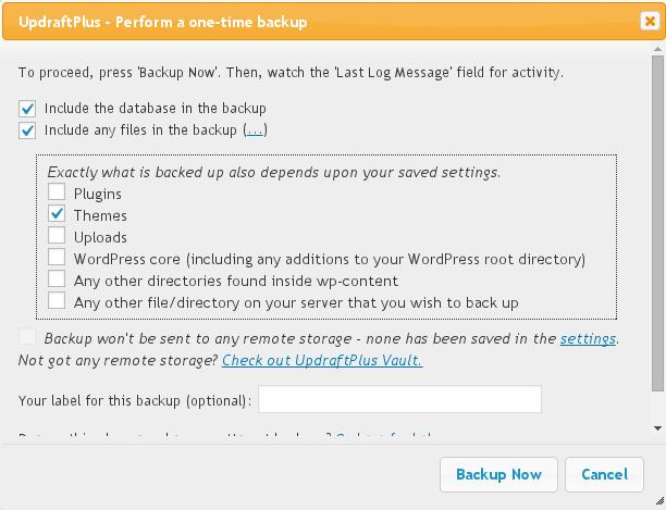 Backup Now dialog box