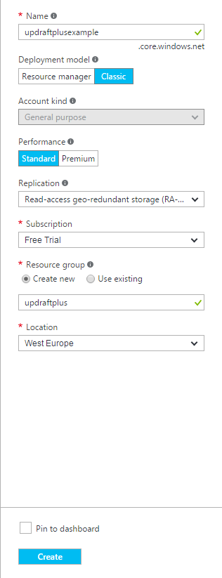 Microsoft Azure (blob storage) setup guide - UpdraftPlus
