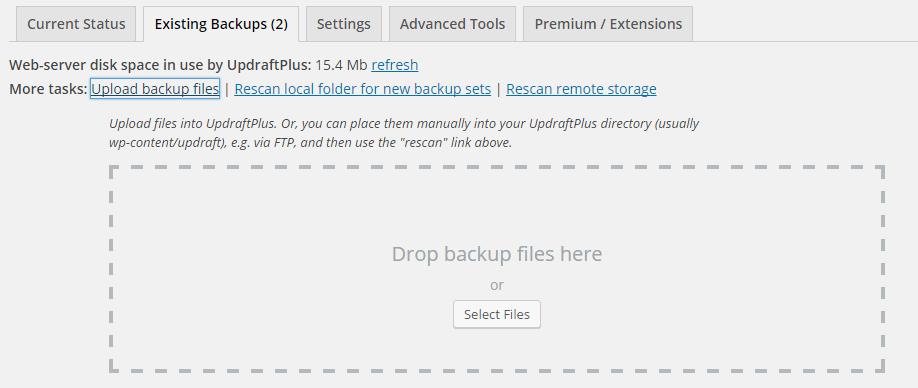 Uploading a backup