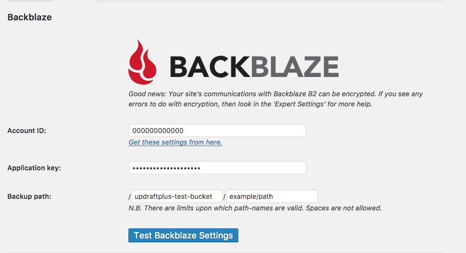 Backblaze settings