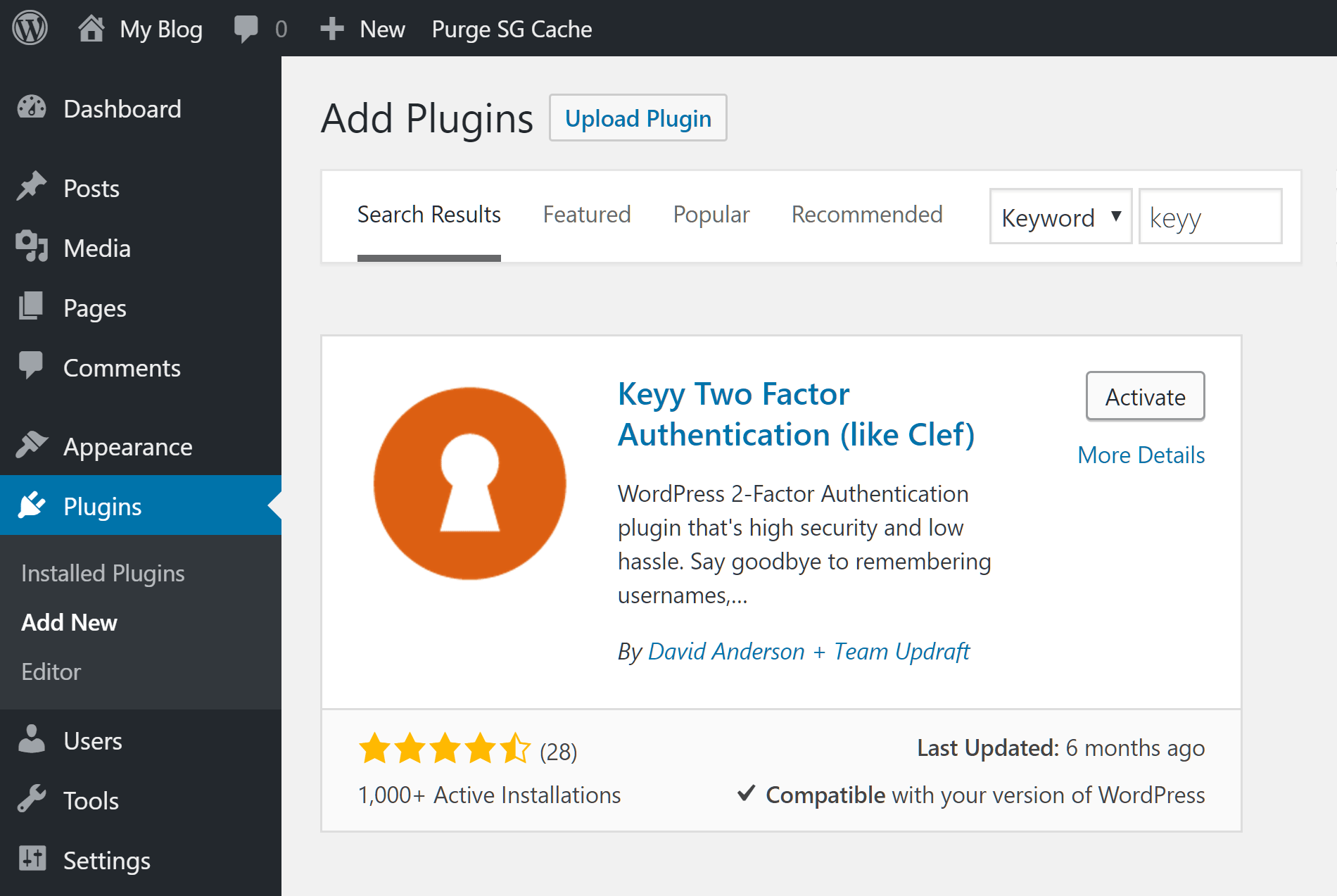 Two Factor Authentication Keyy Plugin Installation