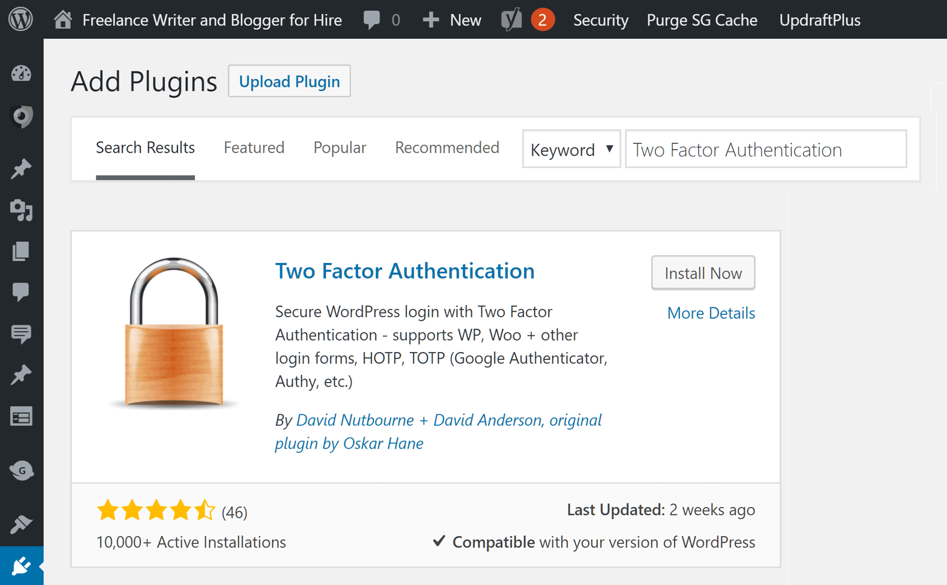 Two Factor Authentication Plugin Installation