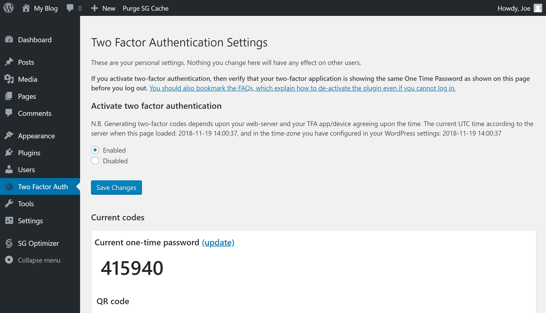 Two Factor Authentication Settings