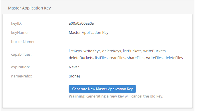 Backblaze Master Application Key
