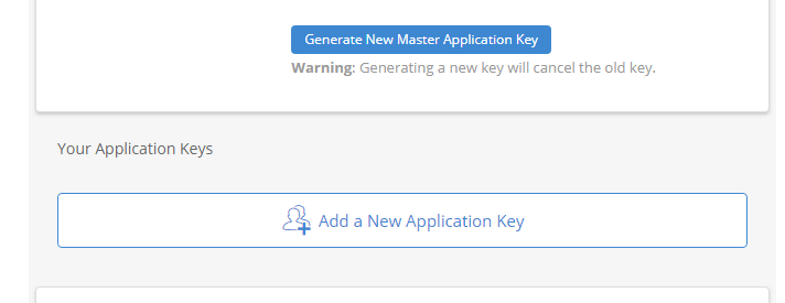 Backblaze add a new application key