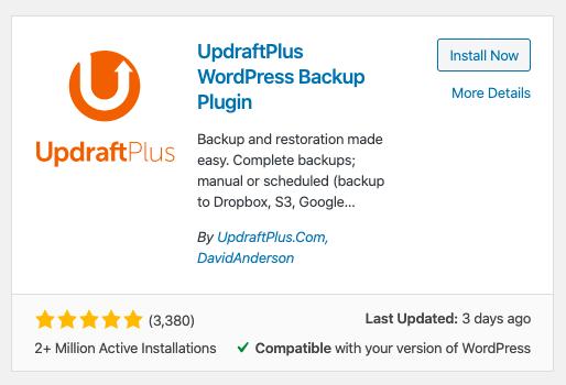 Plugin de sauvegarde WordPress UpdraftPlus