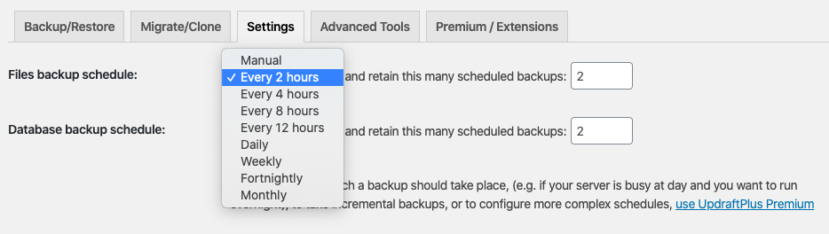 WordPress backup schedule