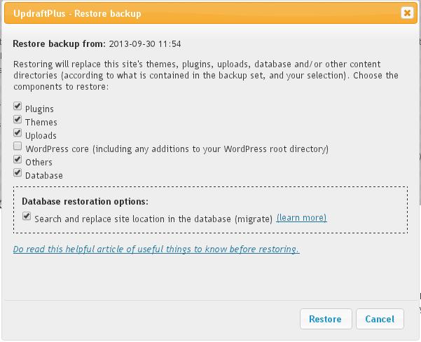 Restaurer la sauvegarde WordPress